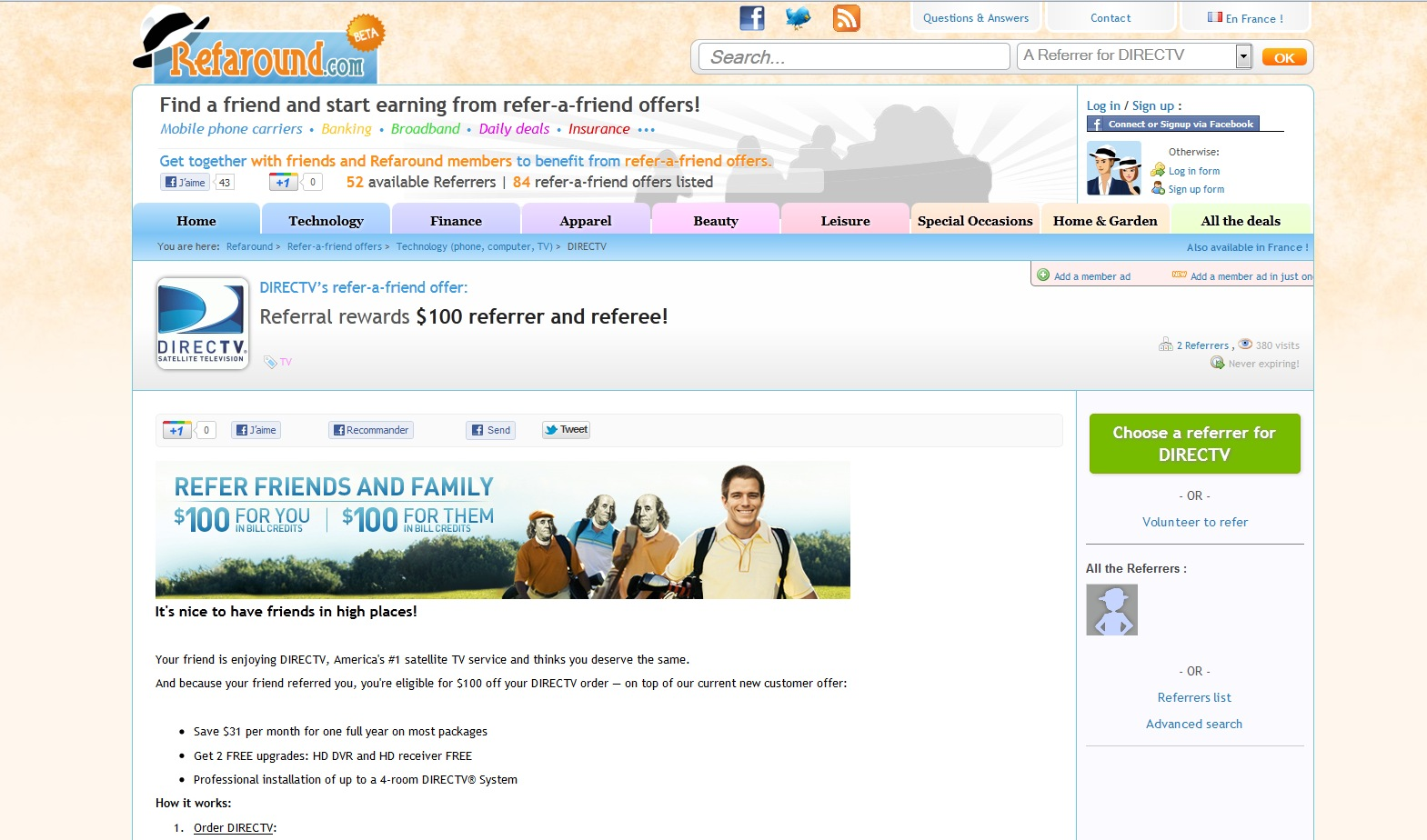 refer a friend offers in the us refaround com the direct tv referral offer page link